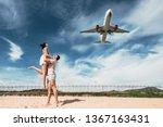 beautiful couple on having fun... | Shutterstock . vector #1367163431