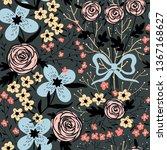 vector floral seamless pattern... | Shutterstock .eps vector #1367168627