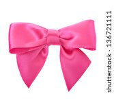 Closeup Pink Bow Isolated Over...