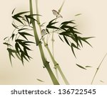oriental style painting  bamboo ... | Shutterstock .eps vector #136722545