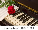 rose with notes paper on... | Shutterstock . vector #136724621