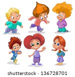 characters funny kids on a... | Shutterstock .eps vector #136728701