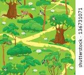 seamless pattern   green forest ... | Shutterstock .eps vector #136731071
