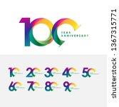 100 year anniversary set vector ... | Shutterstock .eps vector #1367315771