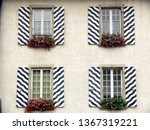 windows with striped decorated... | Shutterstock . vector #1367319221