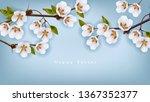 cherry flowers border vector... | Shutterstock .eps vector #1367352377