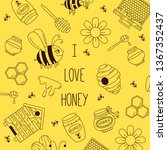 honey bee doodle line vector... | Shutterstock .eps vector #1367352437