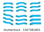 set blue ribbons banners flat... | Shutterstock .eps vector #1367381801
