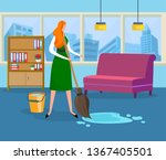 young woman doing wet cleaning... | Shutterstock .eps vector #1367405501