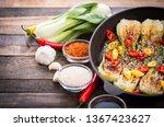 pak choi stir fried with sesame ... | Shutterstock . vector #1367423627