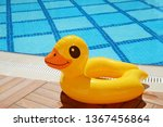 Top View Of Inflatable Duck On...