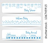 hand drawn baby shower banners  ... | Shutterstock .eps vector #136745915