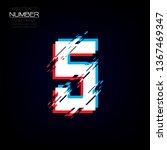 modern glitch number five... | Shutterstock .eps vector #1367469347