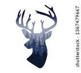 vector deer head silhouette... | Shutterstock .eps vector #1367479667