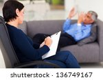 middle aged female psychologist ... | Shutterstock . vector #136749167