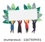 muslim women holding banner... | Shutterstock .eps vector #1367509451