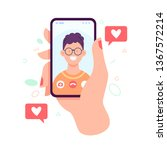 video call with loved one.... | Shutterstock .eps vector #1367572214