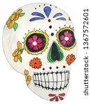 watercolor sugar skull... | Shutterstock . vector #1367572601