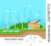 ecofriendly family house. green ... | Shutterstock .eps vector #1367587271