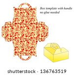 box template with handle.... | Shutterstock .eps vector #136763519