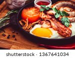 nutritious meal with fried egg  ... | Shutterstock . vector #1367641034