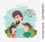 happy fathers day card with dad ...   Shutterstock .eps vector #1367660357