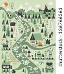 abstract forest and mountain... | Shutterstock .eps vector #136766261