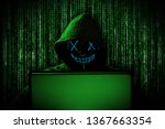 hacker with glowing mask behind ... | Shutterstock . vector #1367663354