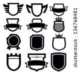 vector black shield icon set on ... | Shutterstock .eps vector #136768481