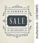 vector vintage summer sale sign ... | Shutterstock .eps vector #136768691