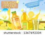 lemon juice. a realistic...   Shutterstock .eps vector #1367692334
