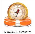 red lifebelt with compass... | Shutterstock .eps vector #136769255