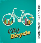 bicycle with city landscape ... | Shutterstock .eps vector #136776101