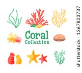 set of isolated colorful corals ... | Shutterstock .eps vector #1367823737