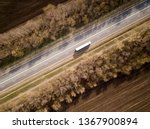 aerial top view of truck with... | Shutterstock . vector #1367900894