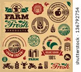 farm fresh labels. organic... | Shutterstock .eps vector #136792754