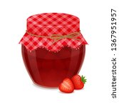 glass jar with tasty strawberry ... | Shutterstock .eps vector #1367951957