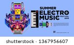 vector summer electro music... | Shutterstock .eps vector #1367956607