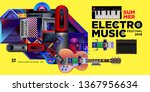 vector summer electro music... | Shutterstock .eps vector #1367956634