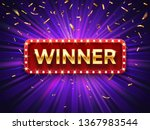Stock vector winner banner win congratulations vintage frame golden congratulating framed sign with gold 1367983544