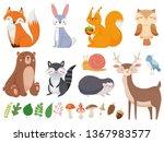 cute woodland animals. wild... | Shutterstock .eps vector #1367983577