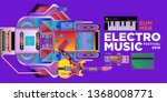 vector summer electro music... | Shutterstock .eps vector #1368008771