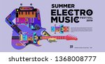 vector summer electro music... | Shutterstock .eps vector #1368008777