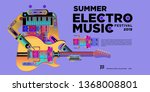 vector summer electro music... | Shutterstock .eps vector #1368008801