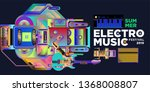 vector summer electro music... | Shutterstock .eps vector #1368008807