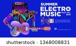 vector summer electro music... | Shutterstock .eps vector #1368008831