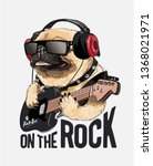 Stock vector pug dog on headphone playing guitar illustration 1368021971