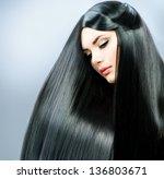 long straight hair. beautiful...   Shutterstock . vector #136803671