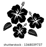 hibiscus icon set | Shutterstock .eps vector #1368039737