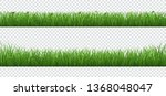 green grass with plants border... | Shutterstock .eps vector #1368048047